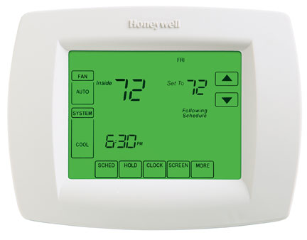 Touchscreen Programmable Thermostat - Saves energy by automatically setting temperatures back when you are away or at night.