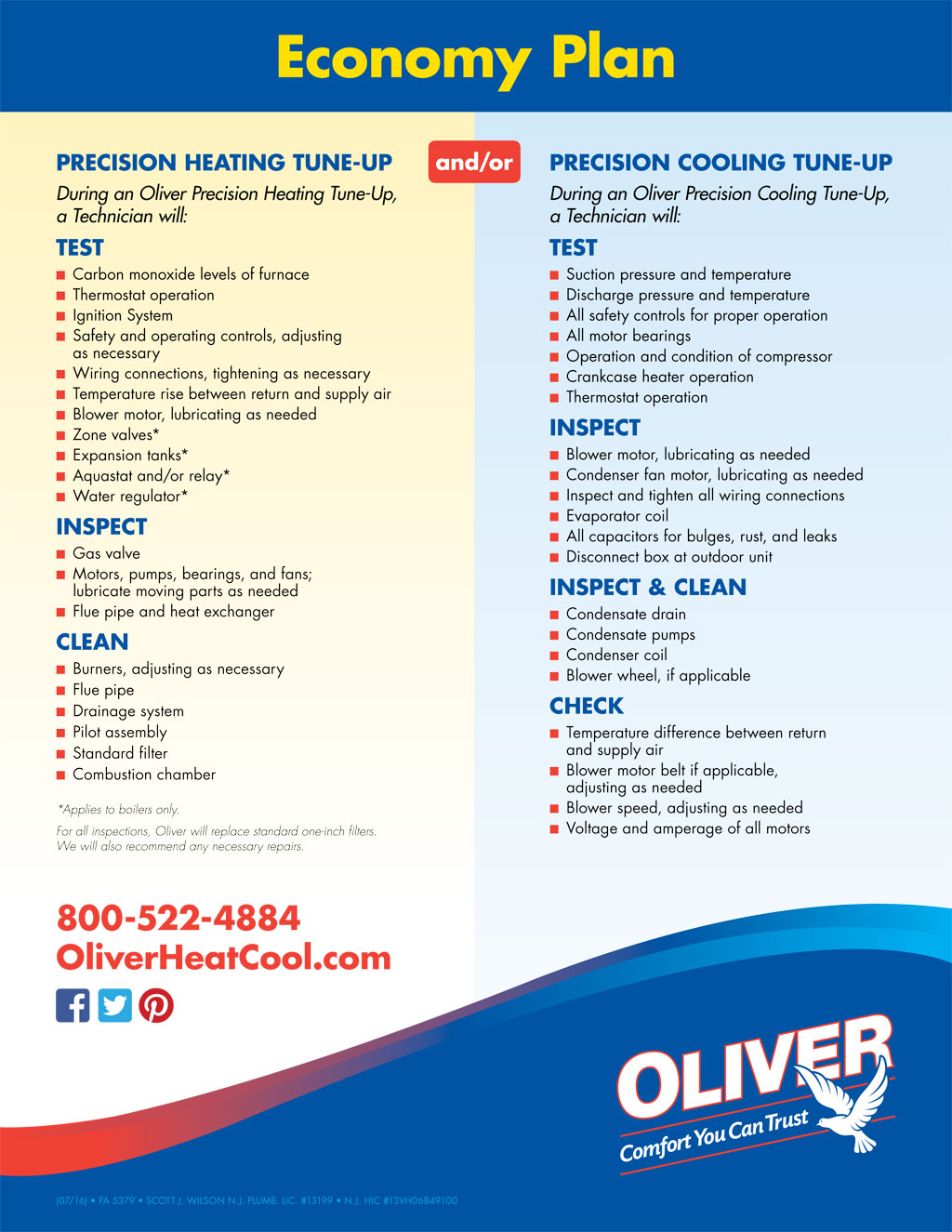 Maintenance Plans Oliver Heating Cooling Amp Plumbing