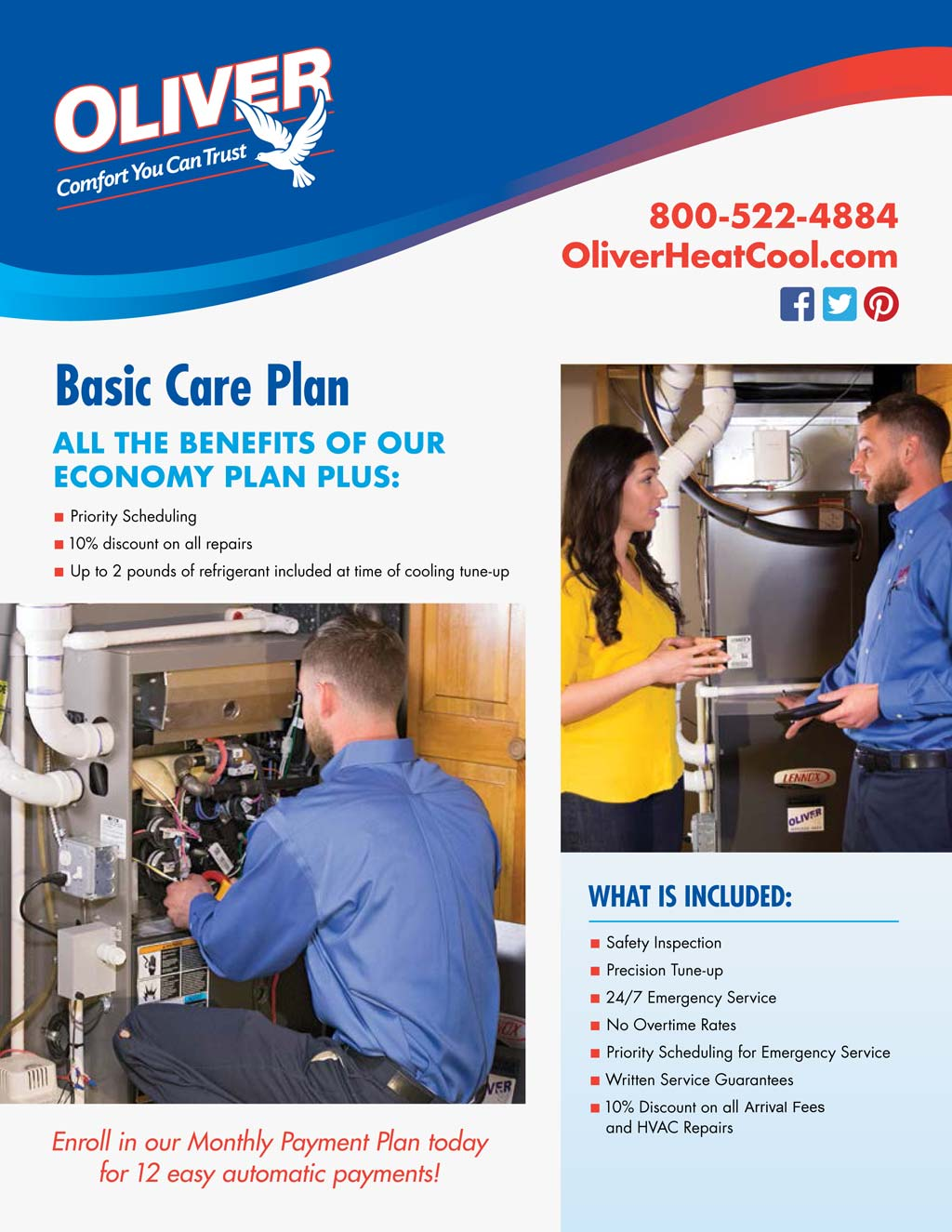 Maintenance Plans | Oliver Heating, Cooling & Plumbing